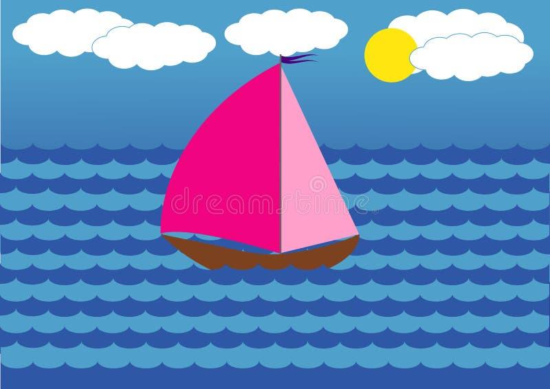 Jacht z szkarłatem żegluje unosić się na morzu ilustracji