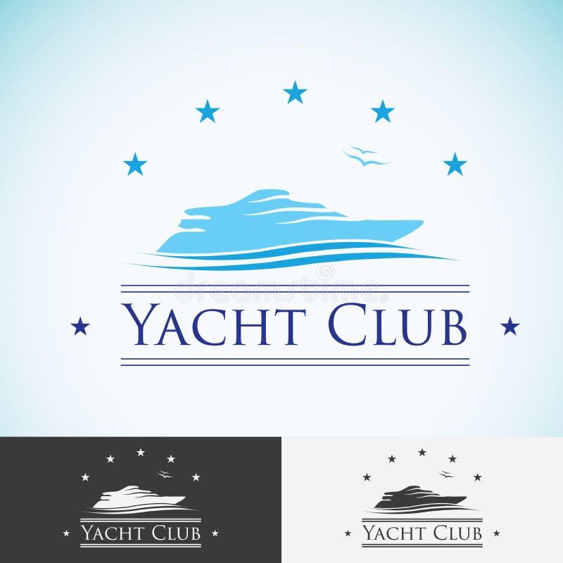 Jachtclub, het malplaatje van het embleemontwerp overzeese cruise, tropisch eiland of vakantie logotype pictogram royalty-vrije illustratie