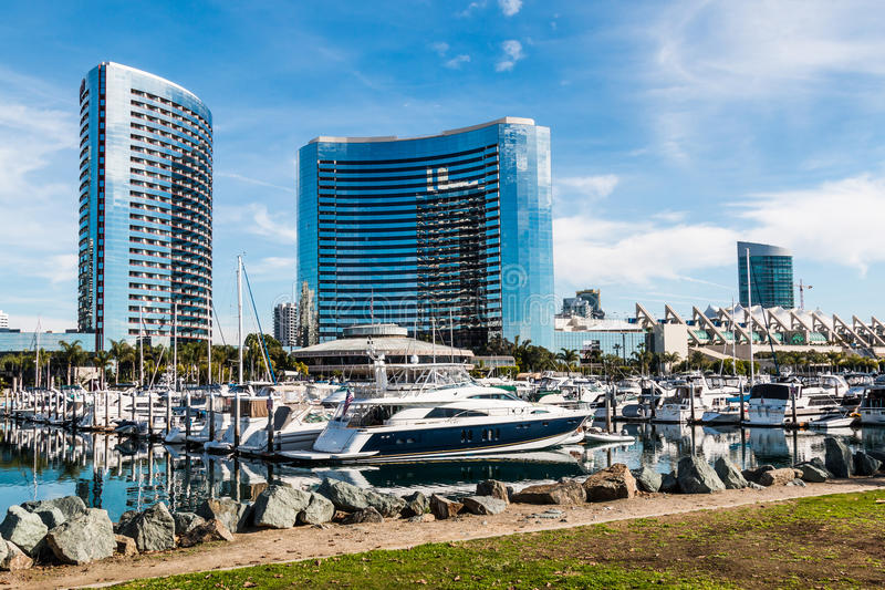 Jachten in Haven in Embarcadero Marina Park in San Diego royalty-vrije stock foto