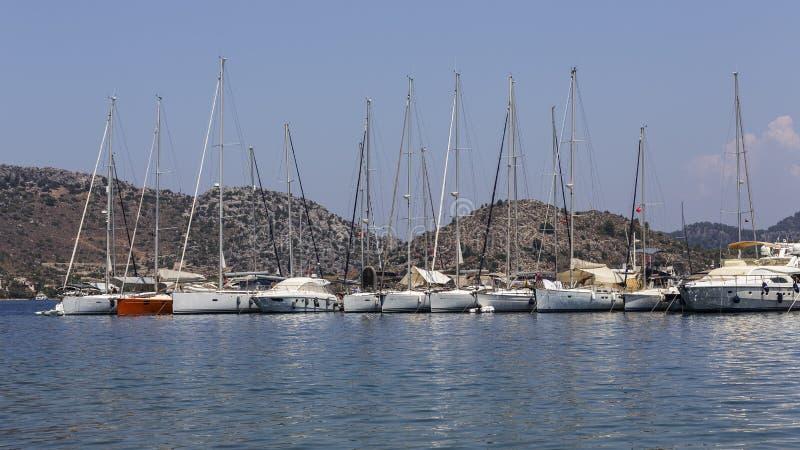 Jachten in Selimiye-Haven, Marmaris, Turkije royalty-vrije stock foto's