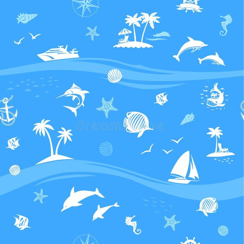 Jachten, vissen en strand naadloze vectorachtergrond royalty-vrije illustratie