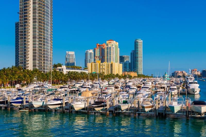 Jachthafen in Miami-Südstrand Florida stockbilder