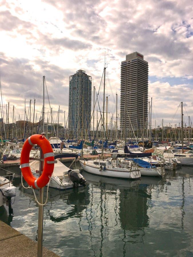 jachthaven Barcelona stock foto