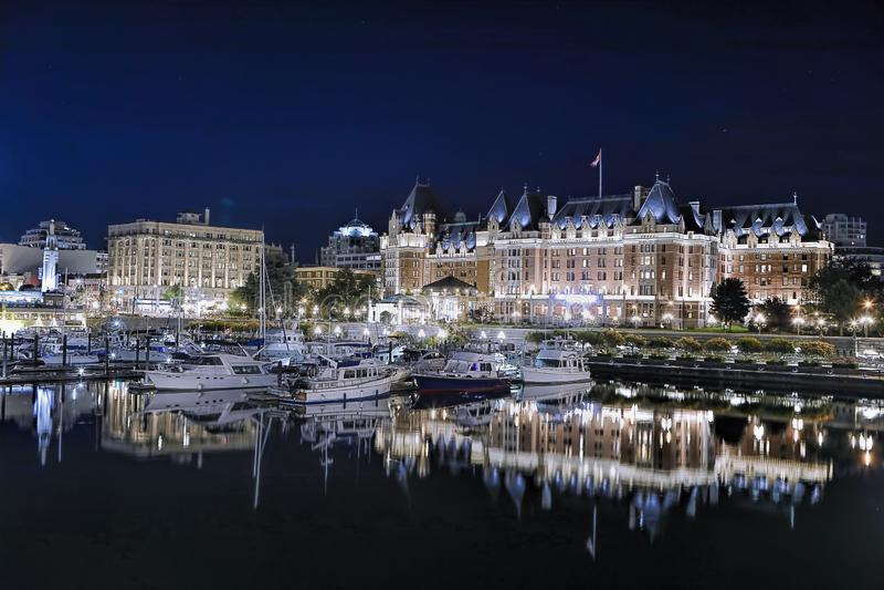 Jachthaven bij de binnenhaven in Victoria BC stock afbeelding