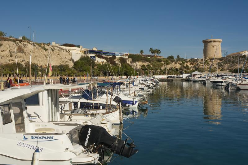Jachthaven bij Gr Campello, Spanje royalty-vrije stock afbeeldingen