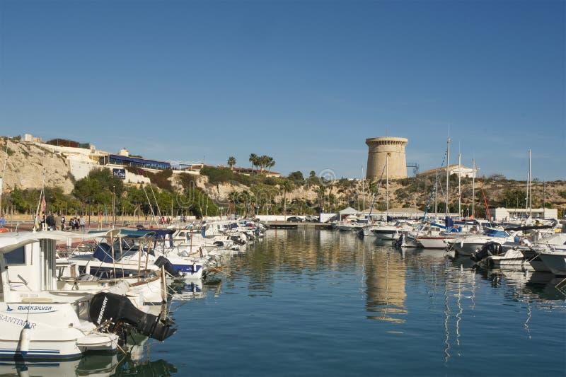 Jachthaven bij Gr Campello, Spanje stock afbeeldingen
