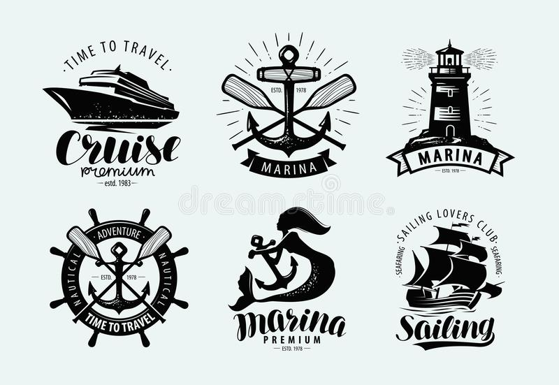 Jachthaven, het varen, cruiseembleem of etiket Mariene thema's, reeks emblemen Vector vector illustratie