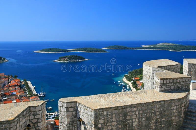 Jachthaven op Hvar, Kroatië royalty-vrije stock afbeelding
