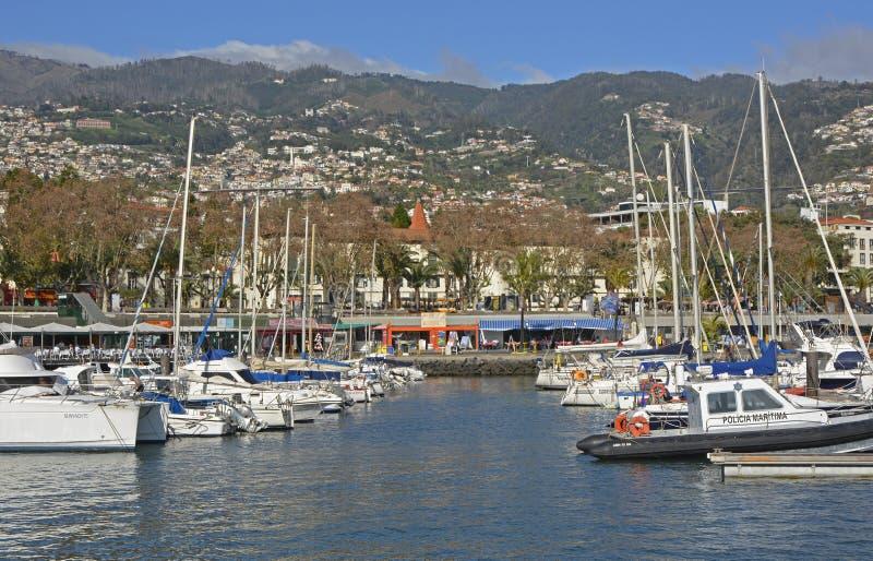 Jachthaven op strandboulevard van Funchal, Madera, Portugal stock afbeelding