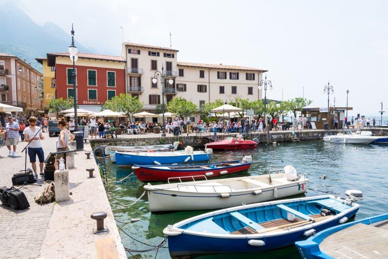 Jachthaven van Malcesine bij Meer Garda stock foto