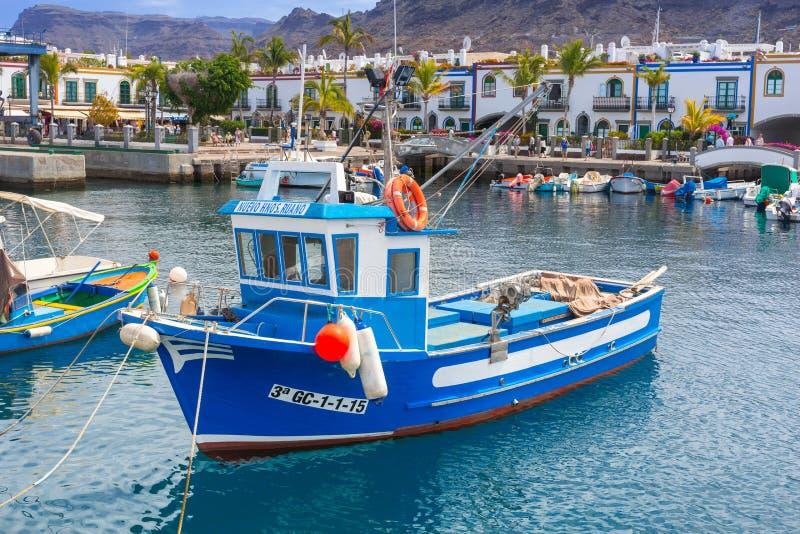 Jachthaven van Puerto DE Mogan, een kleine vissershaven op Gran Canaria stock fotografie