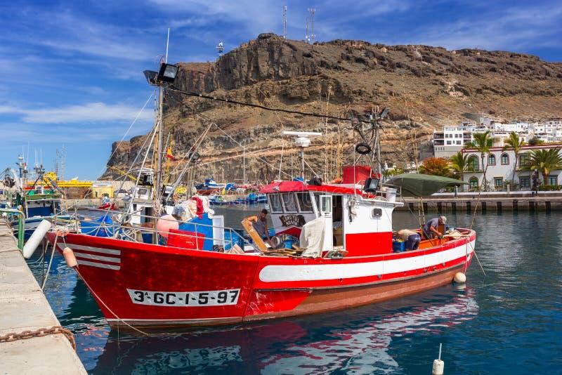 Jachthaven van Puerto DE Mogan, een kleine vissershaven op Gran Canaria stock afbeelding