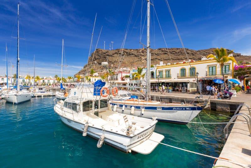 Jachthaven van Puerto DE Mogan, een kleine vissershaven op Gran Canaria royalty-vrije stock afbeelding