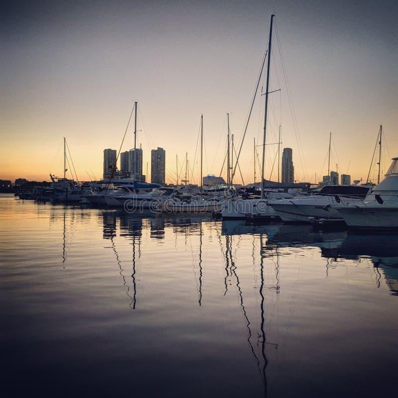 Jachthavenzonsondergang royalty-vrije stock foto's