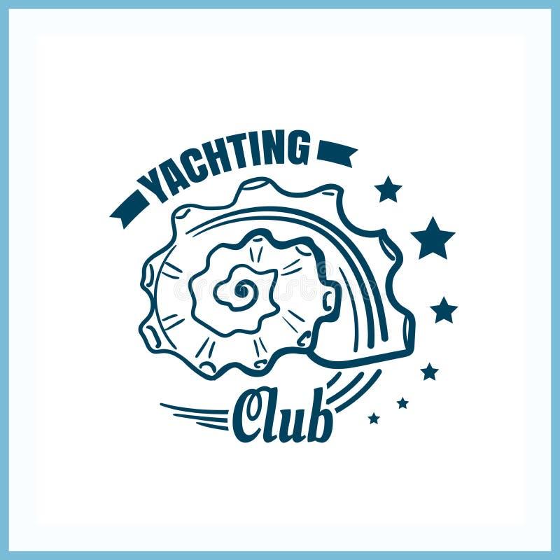 Jachting Świetlicowa odznaka Z Seashell ilustracji