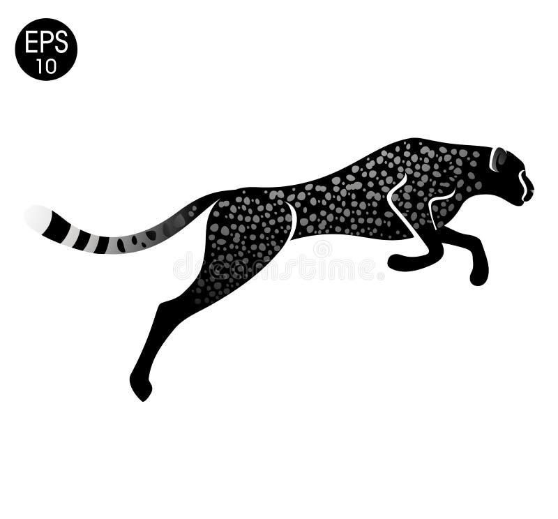 Jachtluipaard snel In werking gesteld Logo Vector Guepardillustratie royalty-vrije illustratie