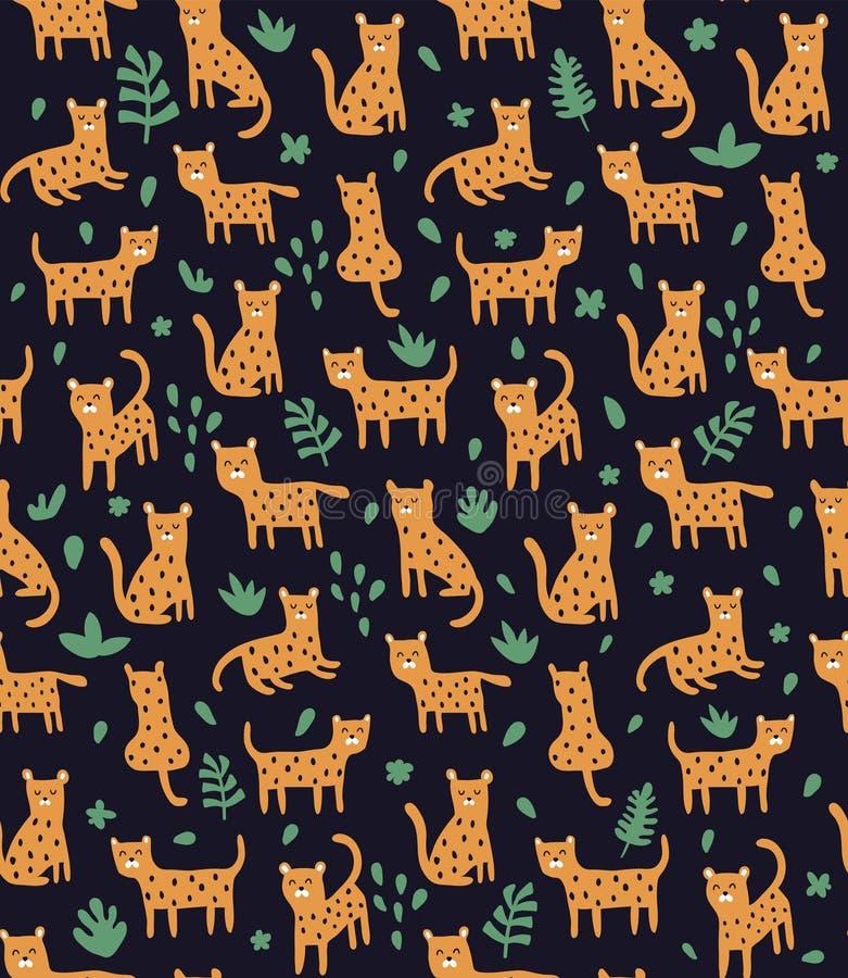 Jachtluipaard in wildernissenzwarte vector illustratie