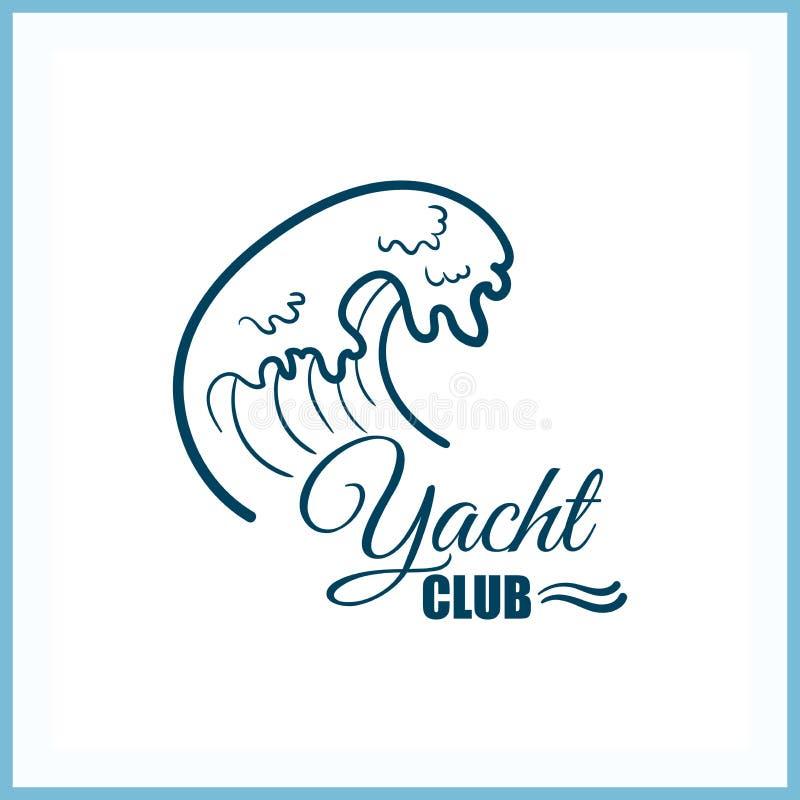 Jachtu klubu odznaka Z fala ilustracja wektor