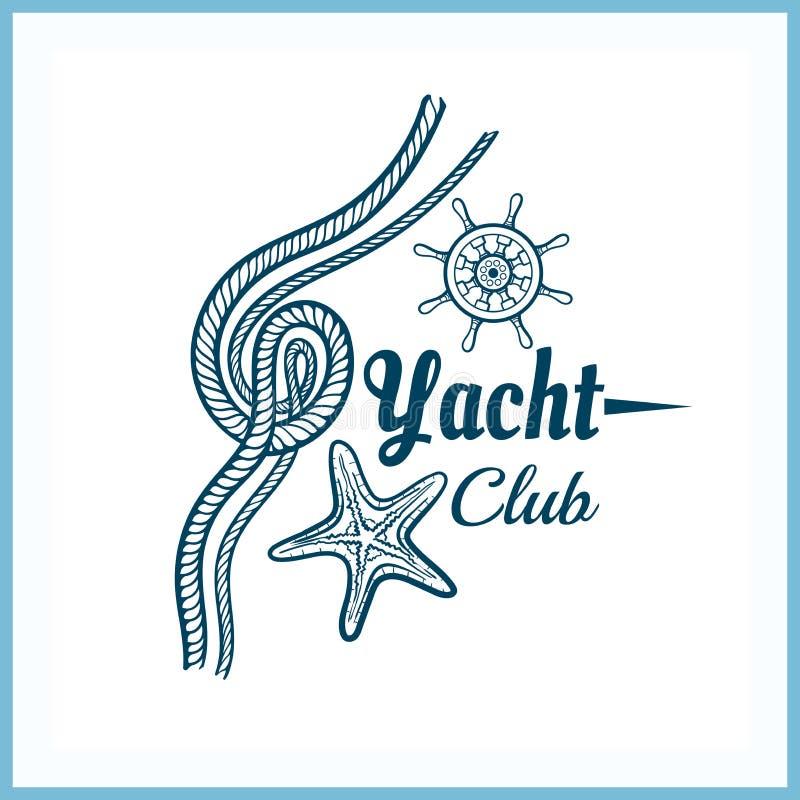 Jachtu klubu odznaka Z rozgwiazdą royalty ilustracja