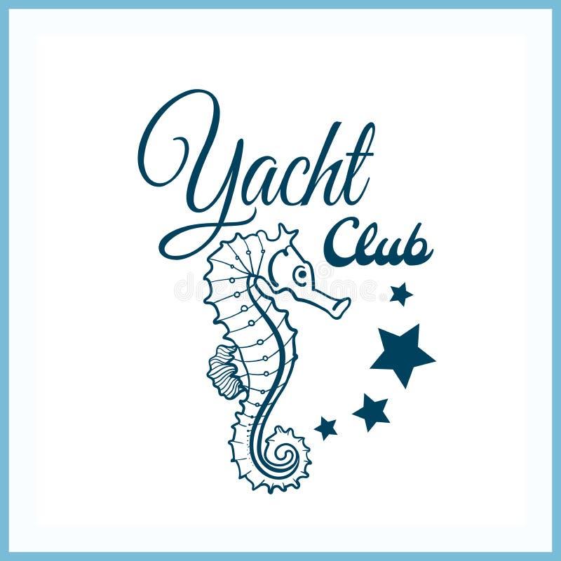 Jachtu klubu odznaka Z Seahorse ilustracji