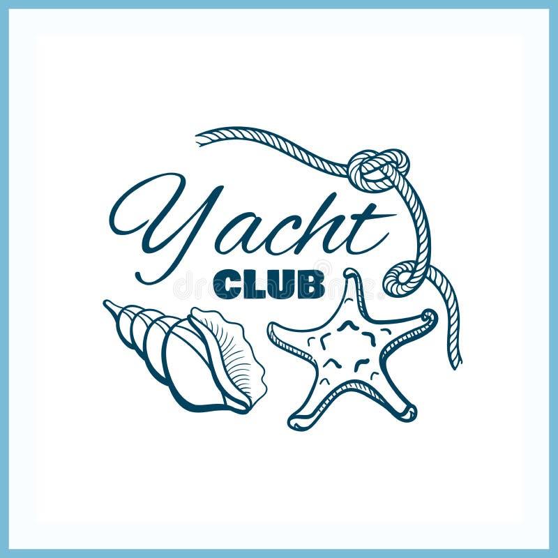 Jachtu klubu odznaka Z Seashells ilustracja wektor