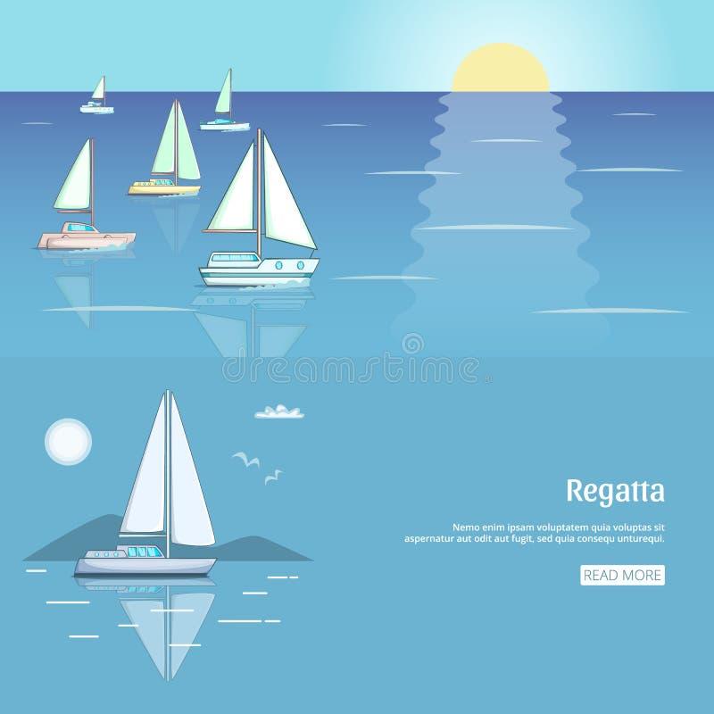 Jachtu klubu ulotki projekt z żagiel łodzią Luksusowa jacht rasa, dennego żeglowania regatta sztandaru ustalony wektor ilustracja wektor