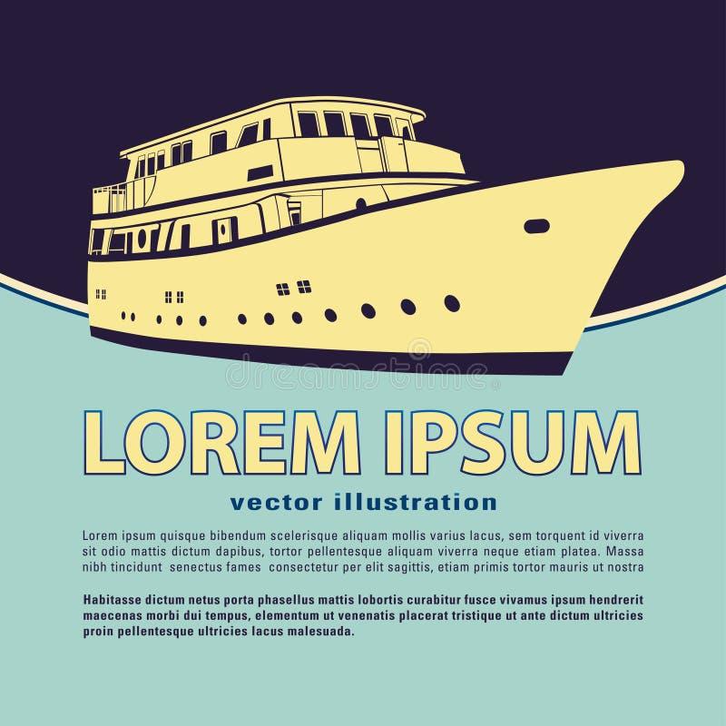 Jachtu wektor, łodzi ikona i miejsce dla twój teksta, Wektorowy sztandar, karta, plakat, ulotka royalty ilustracja