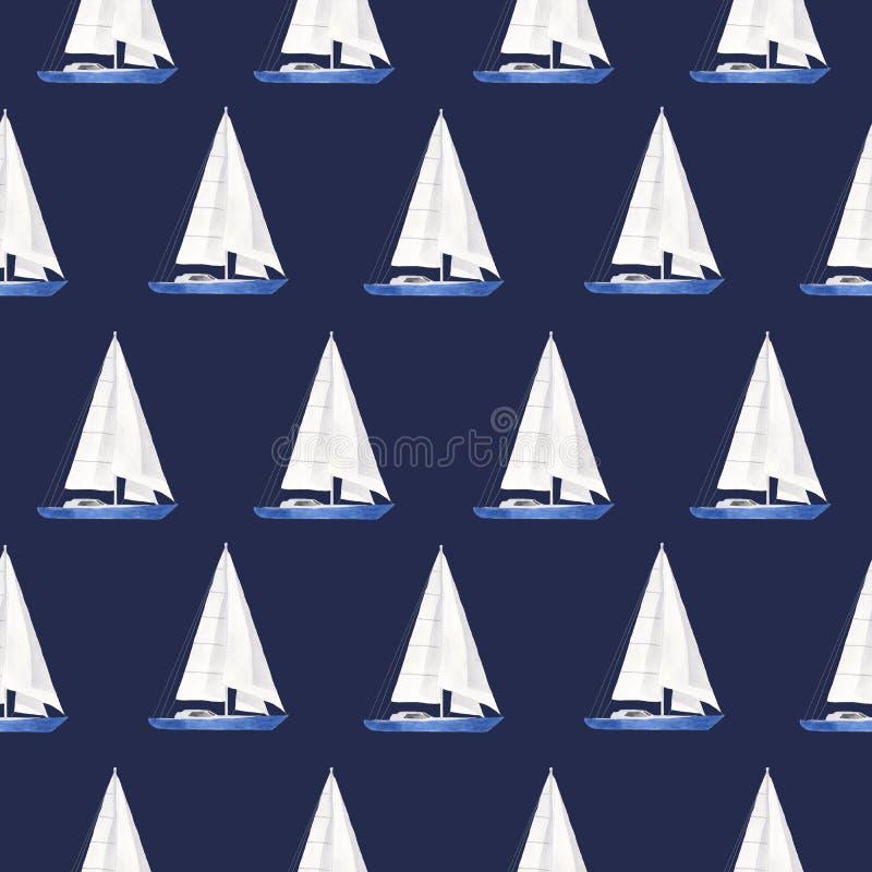 Jachtu wzór jest akwarelą ilustracja wektor