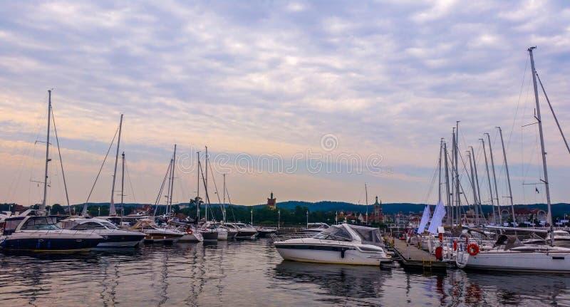 Jachty w Sopocie, Polska obraz royalty free