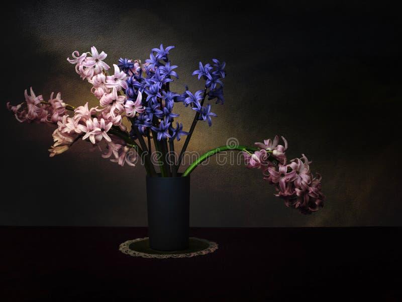 Jacintos oscuros, composición floral del hyacinthus Técnica de pintura ligera artística y artístico texturizado para el vintage imagenes de archivo