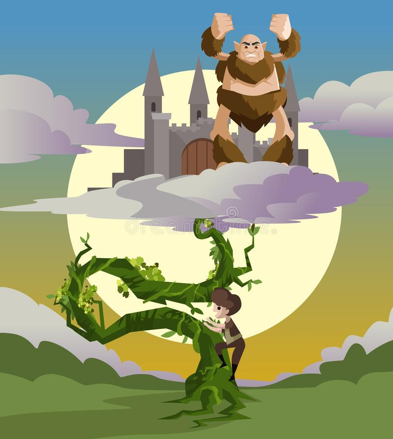 Free Jack And The Beanstalk Fairytale And The Castle In The Sky Stock Images - 188243154