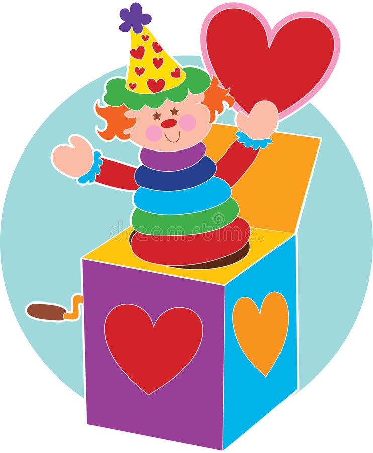 Jack in a Box and Heart. Jack in a Box holding a red heart royalty free illustration