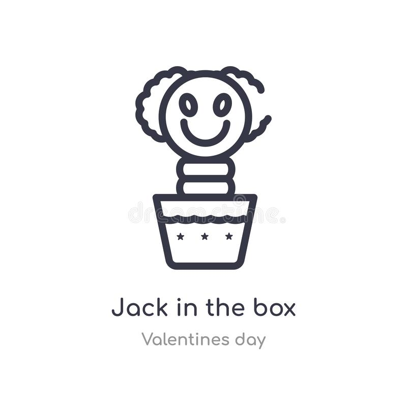 jack in the box outline icon. isolated line vector illustration from valentines day collection. editable thin stroke jack in the stock illustration