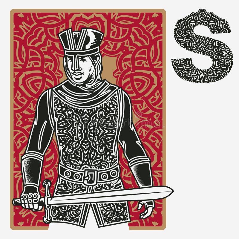 Jack Card Celtic Ornament illustrazione di stock
