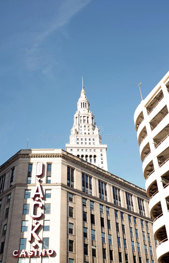 Jack Casino, the only casino in downtown Cleveland, Ohio, USA with the Terminal Tower overshadowing it stock image
