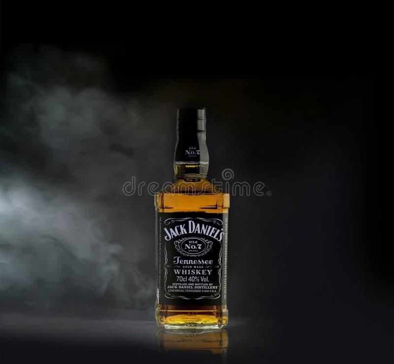 Jack Daniel`s American whiskey. Dublin, Ireland - SEPTEMBER 14, 2018: Jack Daniel`s American whiskey produced by the Jack Daniel Distillery stock image