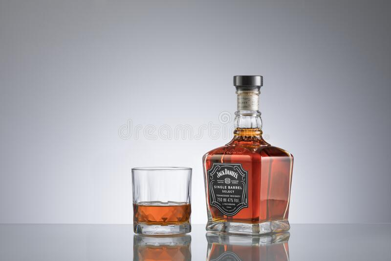 Jack Daniel`s is a brand of sour mash Tennessee whi royalty free stock photos