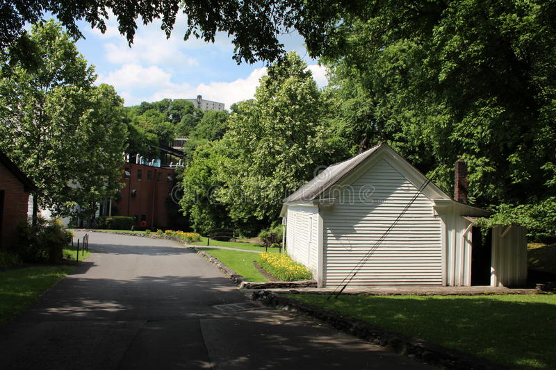 Jack Daniel's Distillery. Jack Daniel's former office at the HQ in Lynchburg Tennessee. Jack Daniel's is a brand of sour mash Tennessee whiskey that is the stock image