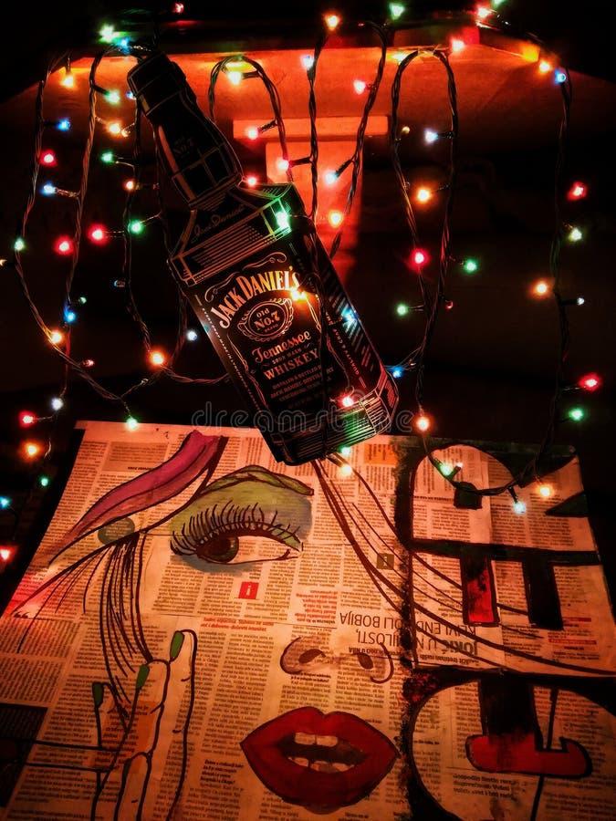 Jack Daniells-lichten royalty-vrije stock foto's