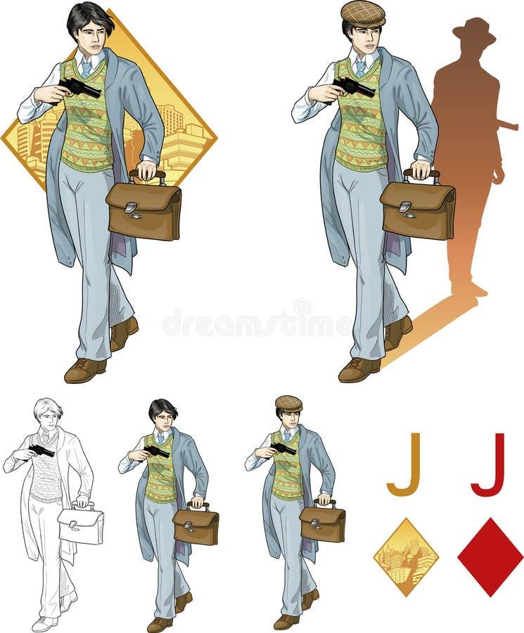Jack del muchacho asiático de los diamantes con una tarjeta de la mafia del arma stock de ilustración