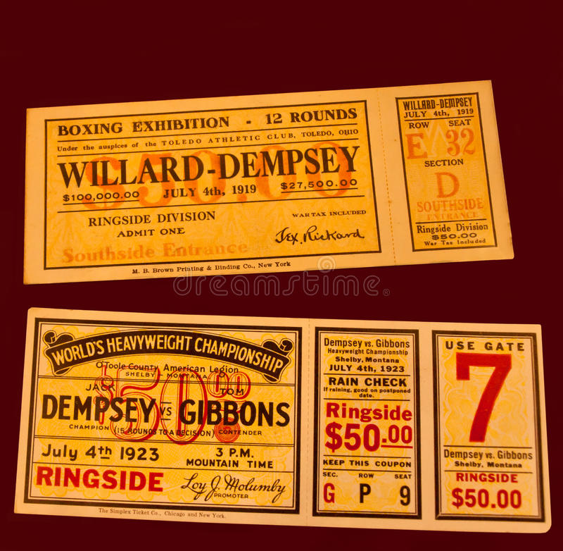 Download Jack dempsey fight tickets editorial photography. Image of willard - 24753847