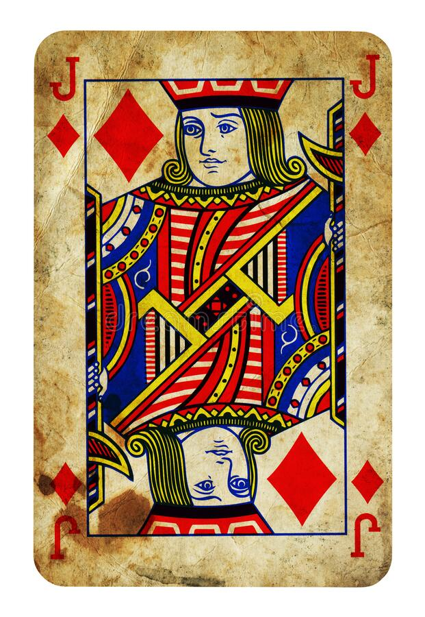 Jack of Diamonds Vintage playing card isolated on white stock photography