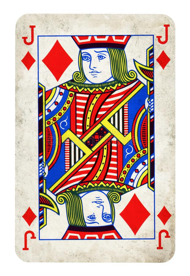 Jack of Diamonds Vintage playing card isolated on white stock illustration