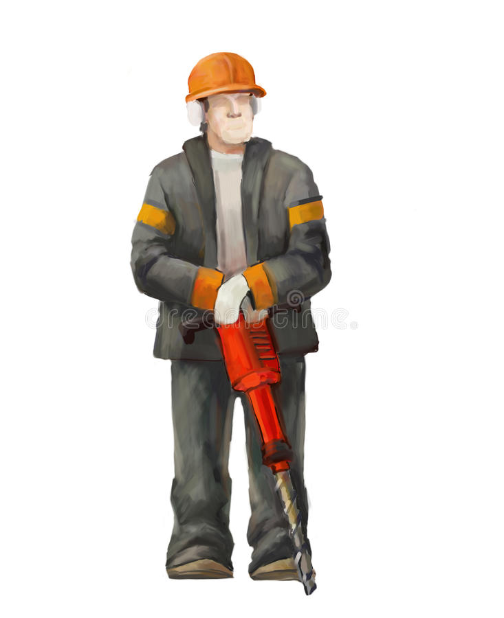 Jack hammer worker. Builders working on construction works illustration stock image