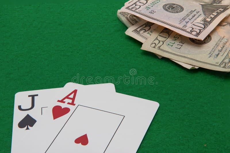 Jack i as blackjack karty na z zielenią obrazy stock