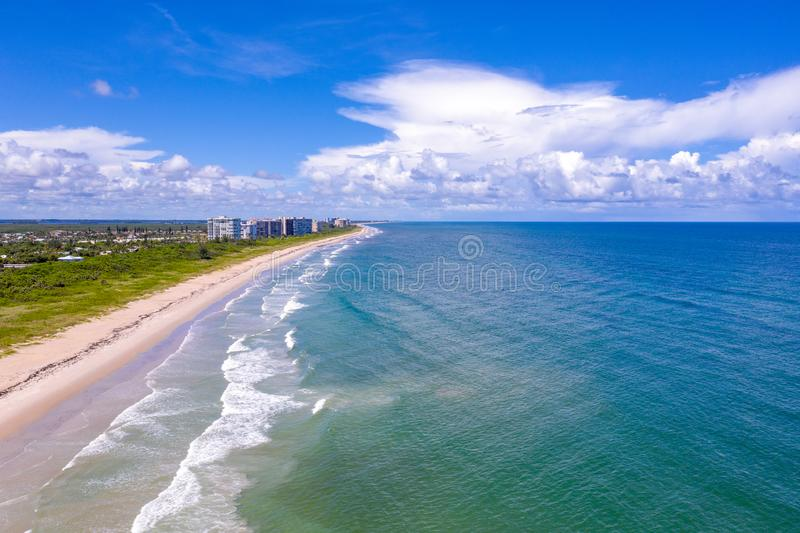 Jack Island at Fort Pierce Florida. Condos line the beach just north of Fort Pierce Inlet State Park on Jack Island stock images