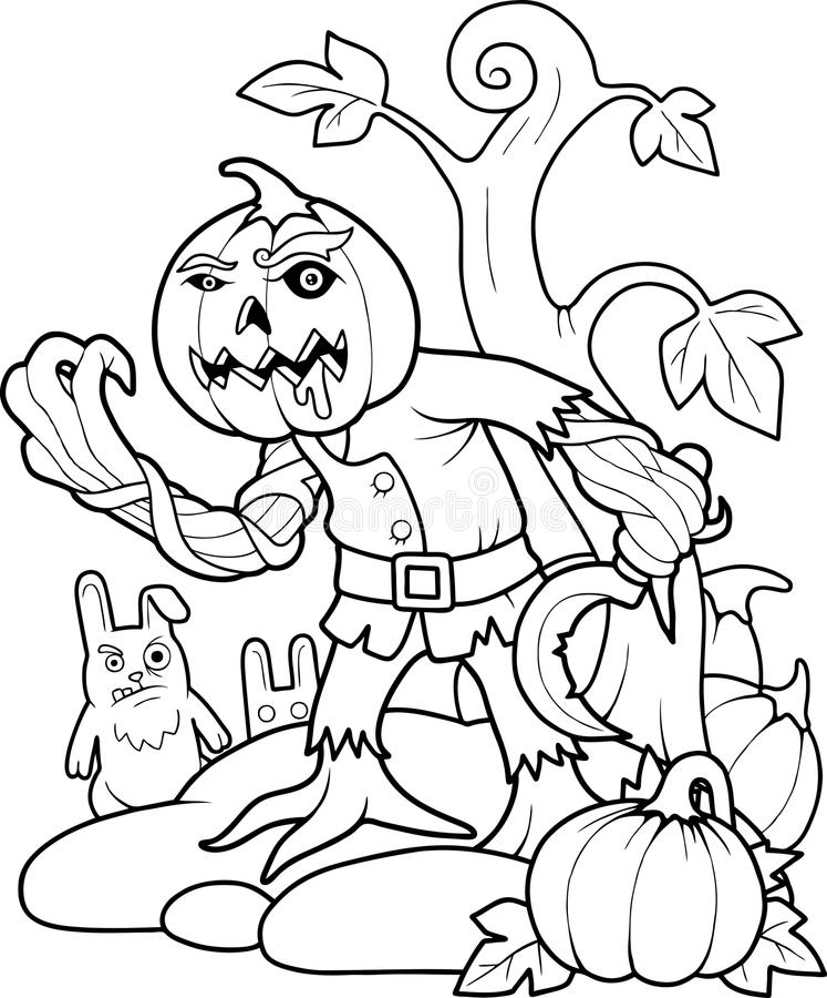 Jack lampion z sierpem w jego ręce ilustracji