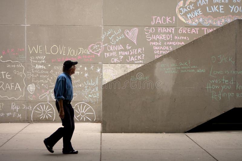 Jack Layton - mémorial de craie. image libre de droits