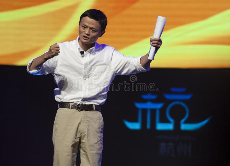 Jack Ma of Alibaba. Jack Ma,CEO of Alibaba Group,a giant internet company, gives a speech in Hangzhou