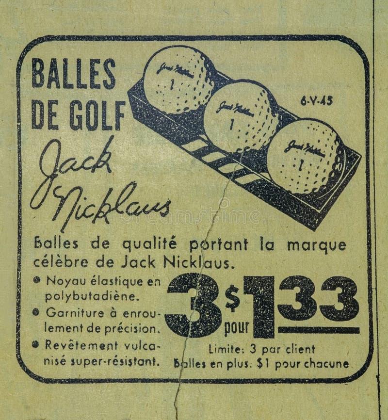 Jack Nicklaus Golf Ball Vintage Zeitung hinzufügen stockfoto